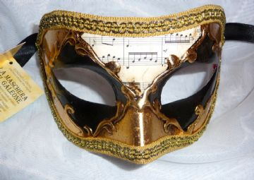 Genuine Venetian Black & Gold Harlequin half Mask